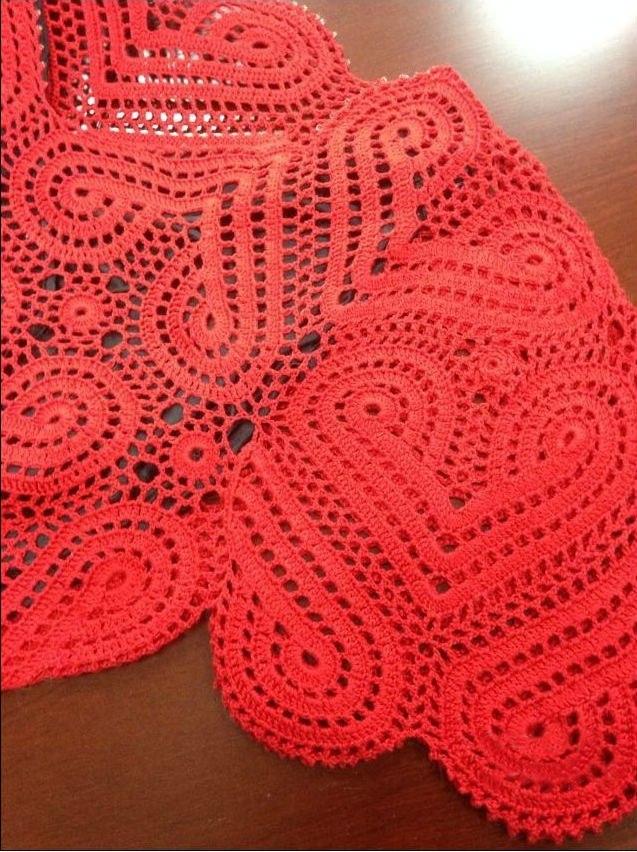 Вязание крючком платья из сердечек